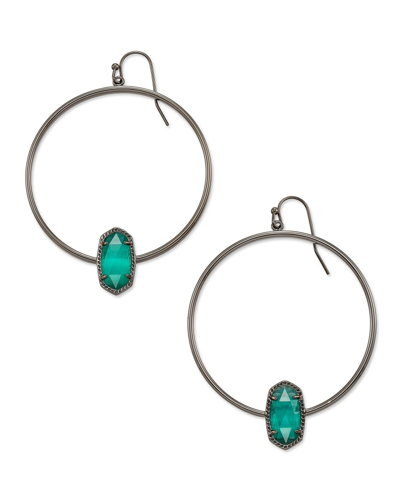 Elora Gunmetal Hoop Earrings in Emerald Cat's Eye