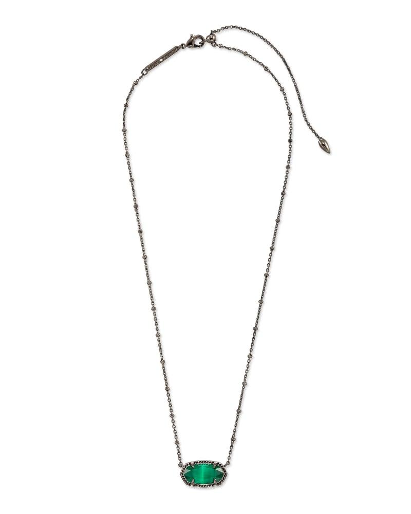 Elisa Gunmetal Satellite Pendant Necklace in Emerald Cat's Eye