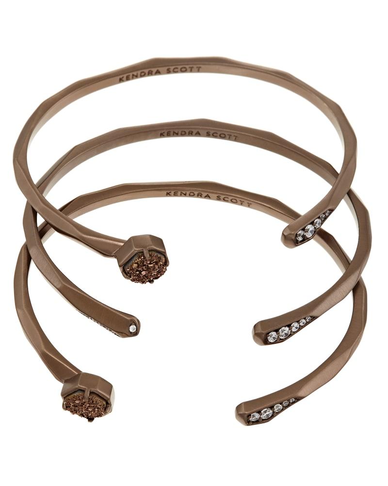 Blake Bangle Bracelet Set in Chocolate Drusy