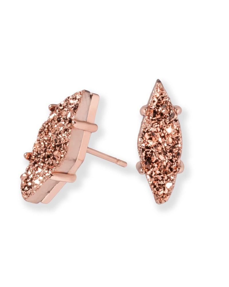 Brook Stud Earrings in Rose Gold Drusy