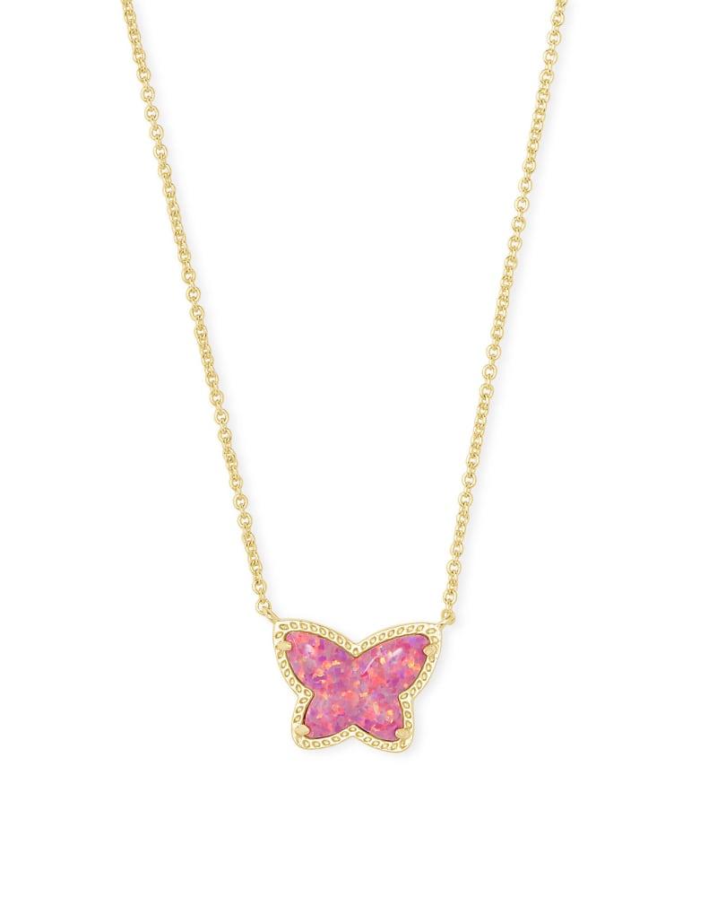 Lillia Butterfly Gold Pendant Necklace in Rose Pink Kyocera Opal | Kendra Scott