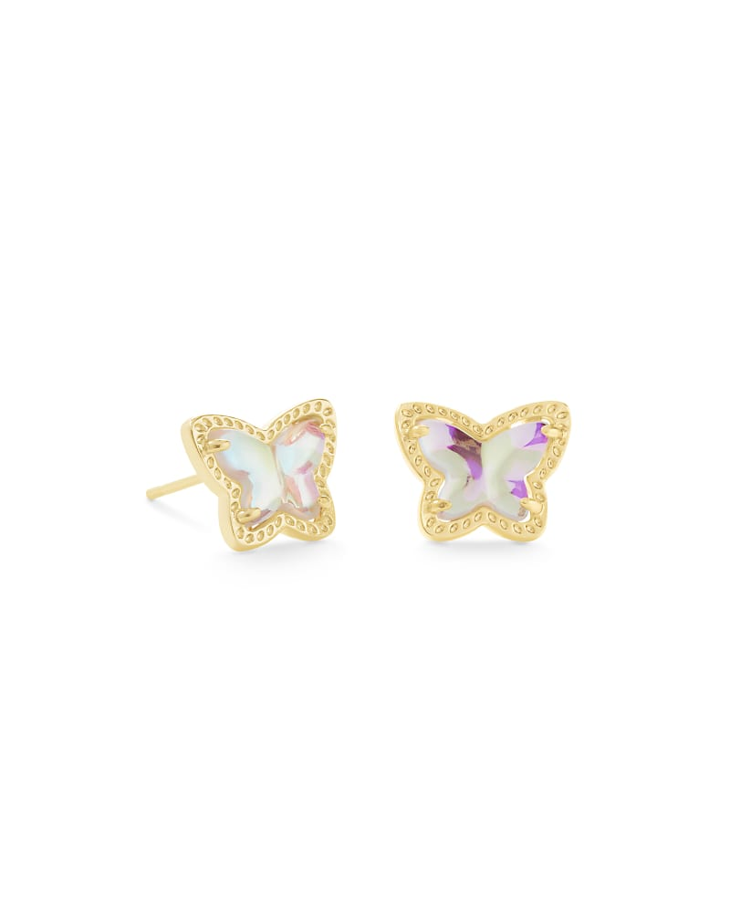 Lillia Butterfly Gold Stud Earrings in Dichroic Glass