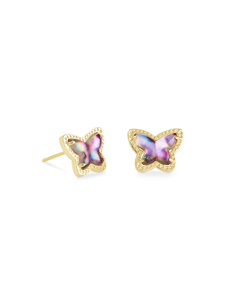 Lillia Butterfly Gold Stud Earrings in Lilac Abalone
