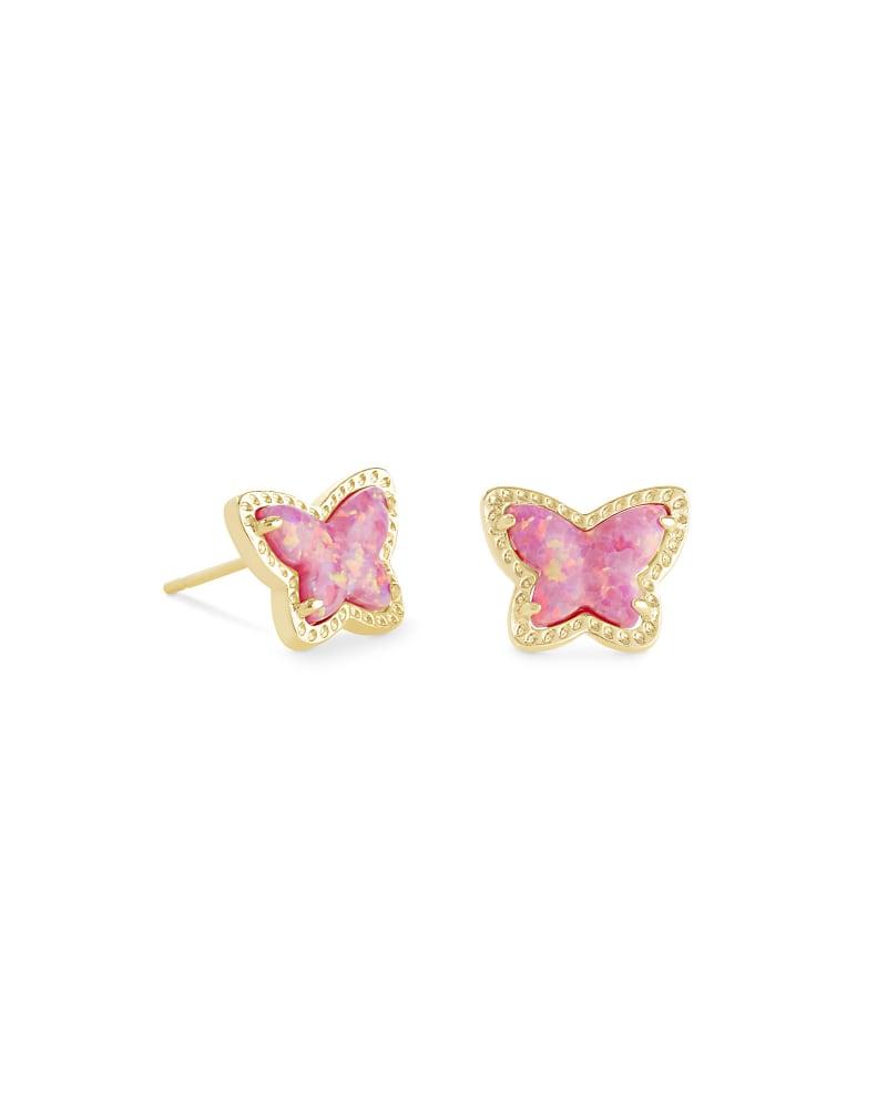 Lillia Butterfly Gold Stud Earrings in Rose Pink Kyocera Opal | Kendra Scott