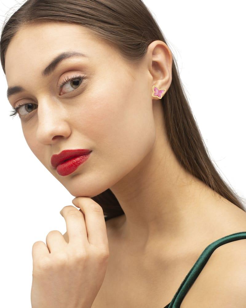 Lillia Butterfly Gold Stud Earrings in Rose Pink Kyocera Opal