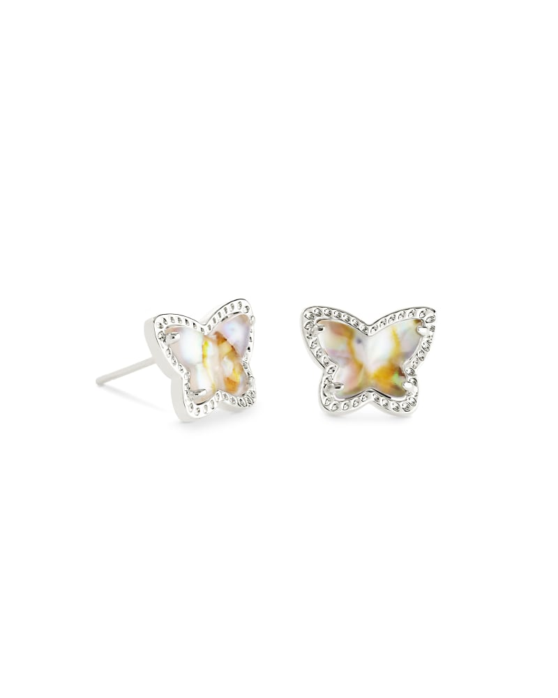Lillia Butterfly Silver Stud Earrings in Iridescent Abalone