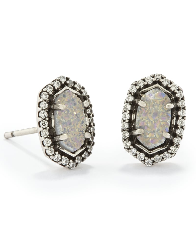 Cade Stud Earrings in Antique Silver