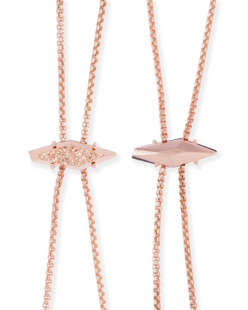 Cheska Bolo Necklace in Rose Gold Drusy