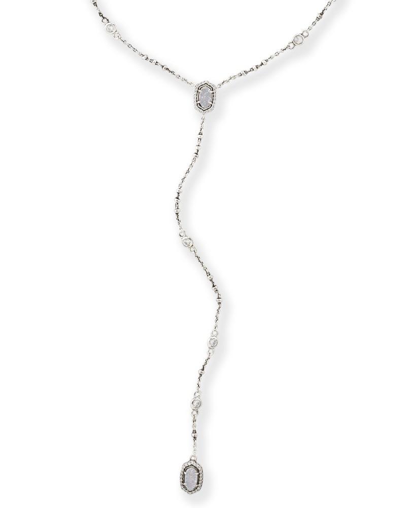 Claudia Lariat Necklace in Antique Silver