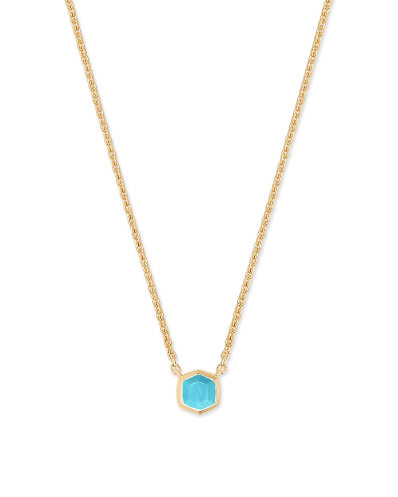 Davie 18K Gold Vermeil Pendant Necklace in Genuine Turquoise