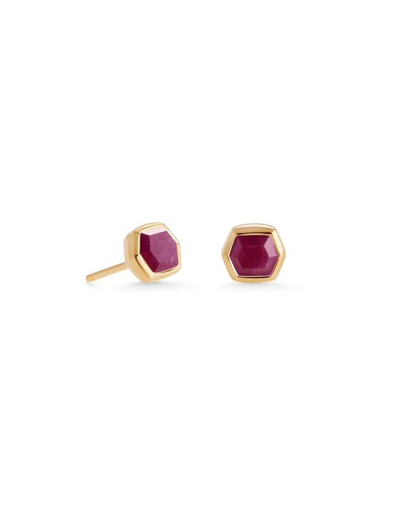 Davie 18K Gold Vermeil Stud Earrings in Ruby