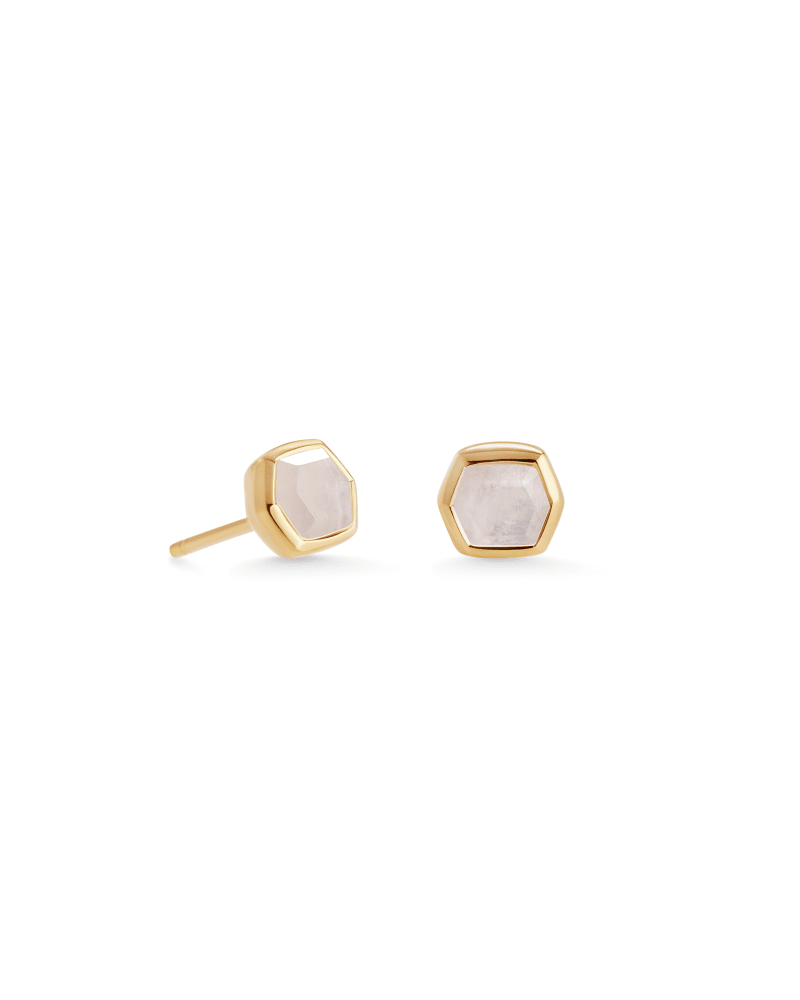 Davie 18K Gold Vermeil Stud Earrings in Rainbow Moonstone