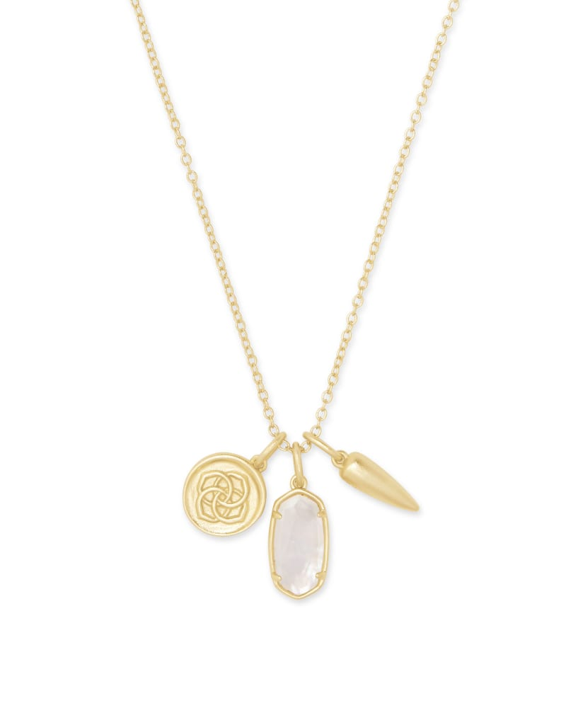 Dira Gold Coin Charm Necklace in Ivory Mother of Pearl   Kendra Scott