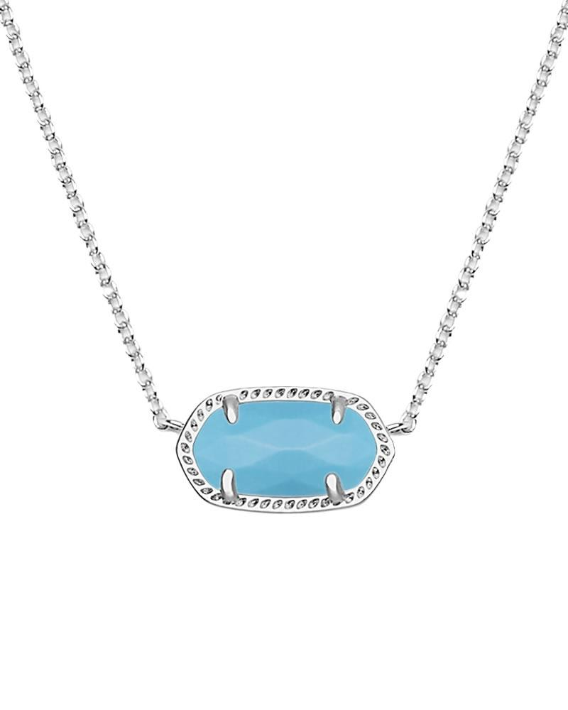 Elisa Silver Pendant Necklace in Turquoise
