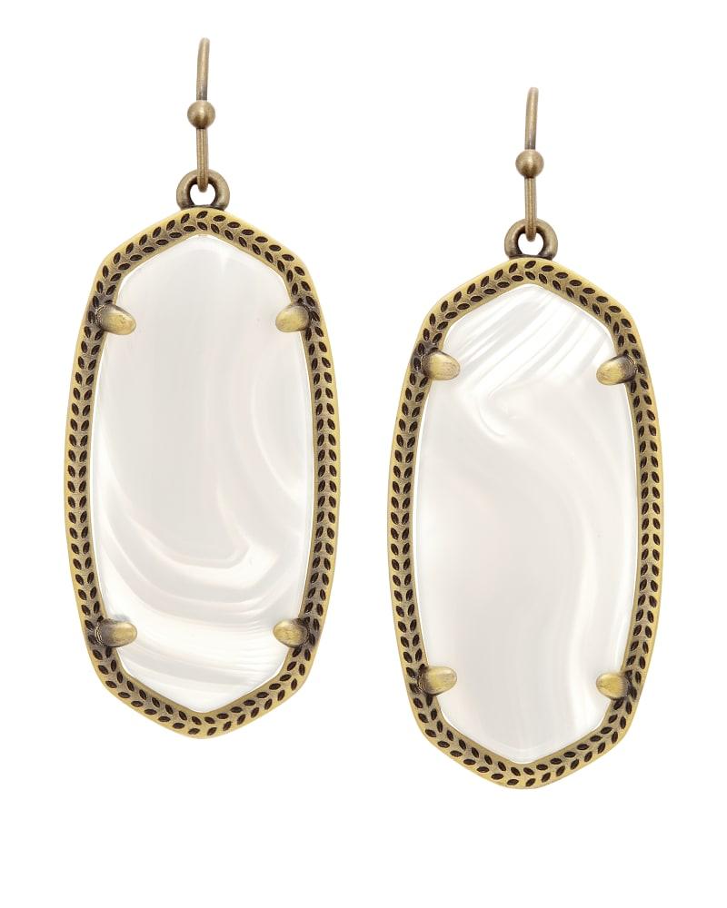 Elle Earrings in White Banded Agate