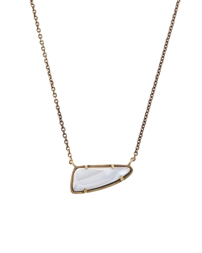 Etta Pendant Necklace in White Banded Agate