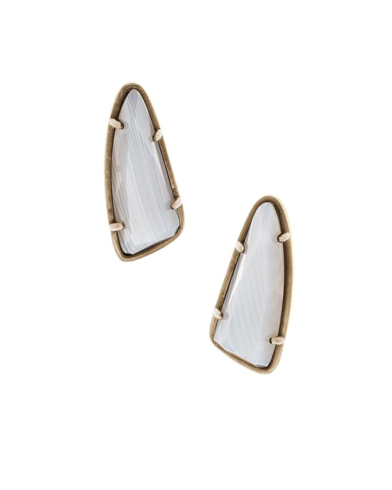 Everett Stud Earrings in White Banded Agate