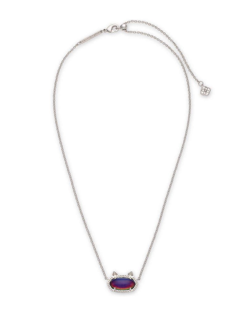 Elisa Silver Cat Pendant Necklace in Mood Stone