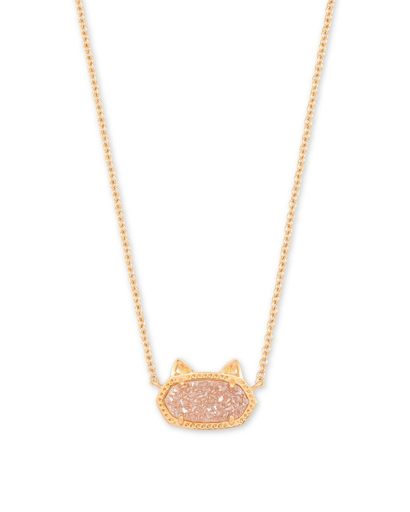 Elisa Rose Gold Cat Pendant Necklace in Sand Drusy