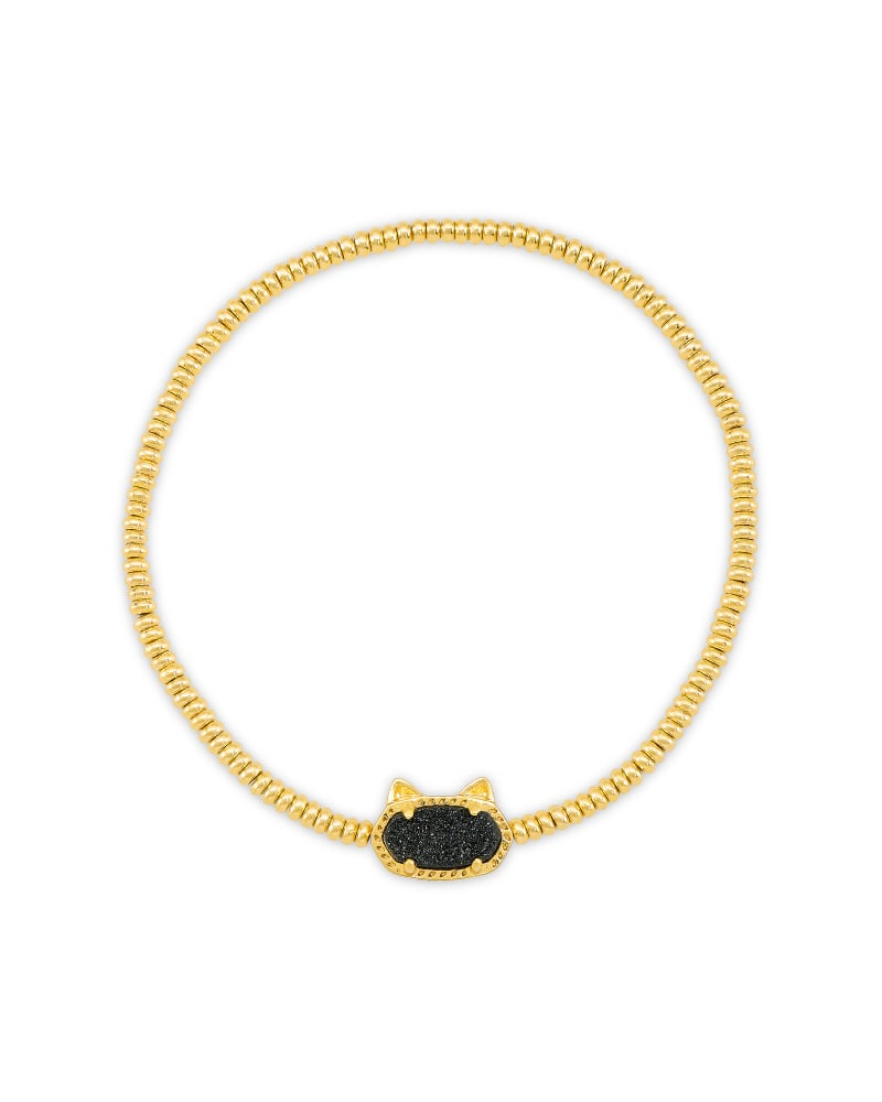 Grayson Gold Cat Stretch Bracelet in Black Drusy