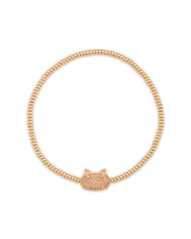 Grayson Rose Gold Cat Stretch Bracelet in Sand Drusy