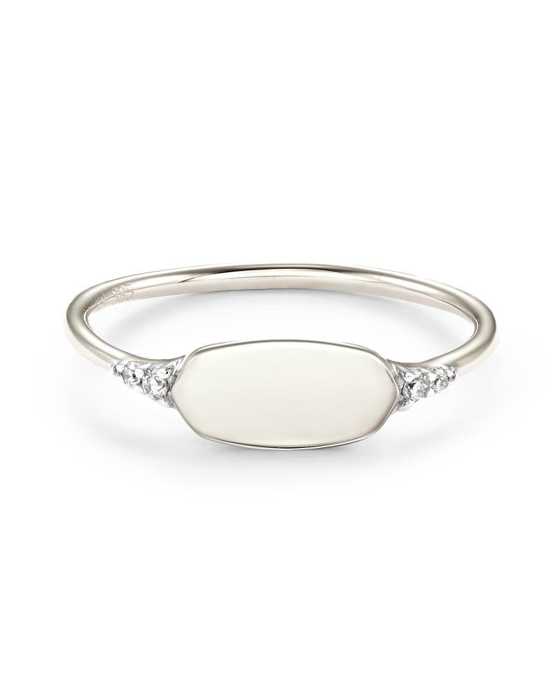 Fern 14k White Gold Band Ring in White Diamond