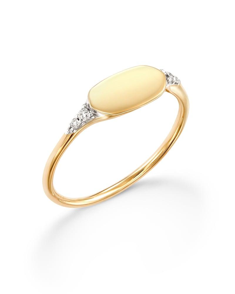 Fern 14k Yellow Gold Band Ring in White Diamond