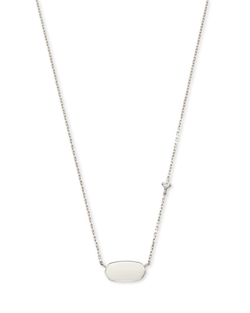 Fern 14k White Gold Pendant Necklace in White Diamond
