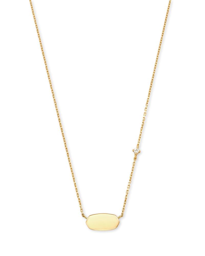 Fern 14k Yellow Gold Pendant Necklace in White Diamond