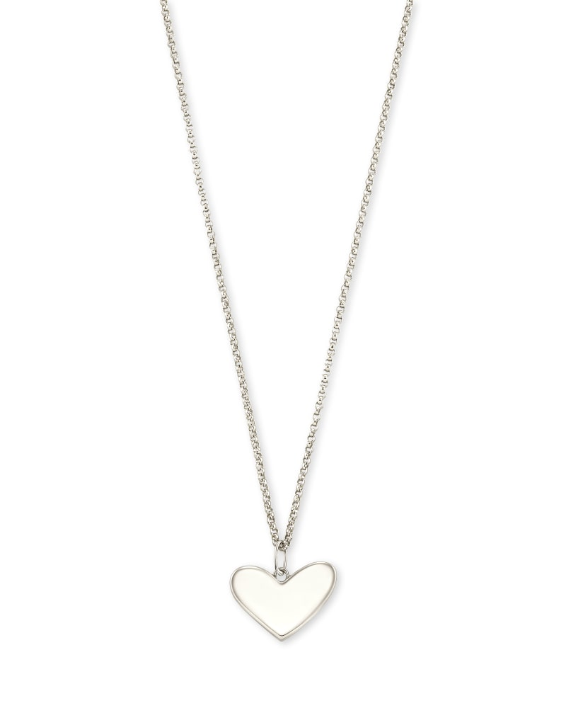 Ari Heart Charm Necklace in 14k White Gold