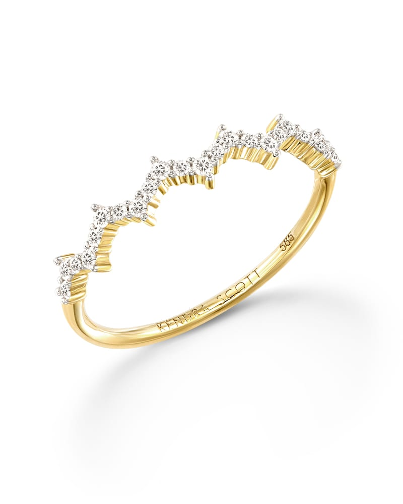 Finley 14k Yellow Gold Band Ring in White Diamond