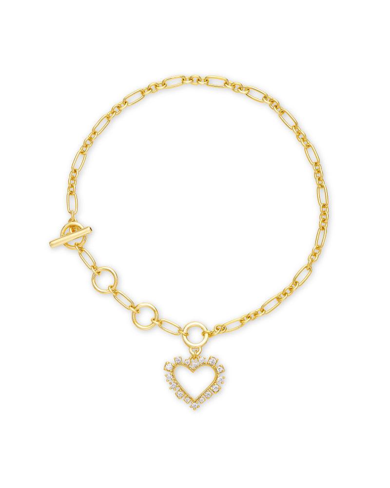 Ari Heart Gold Delicate Bracelet in White Crystal