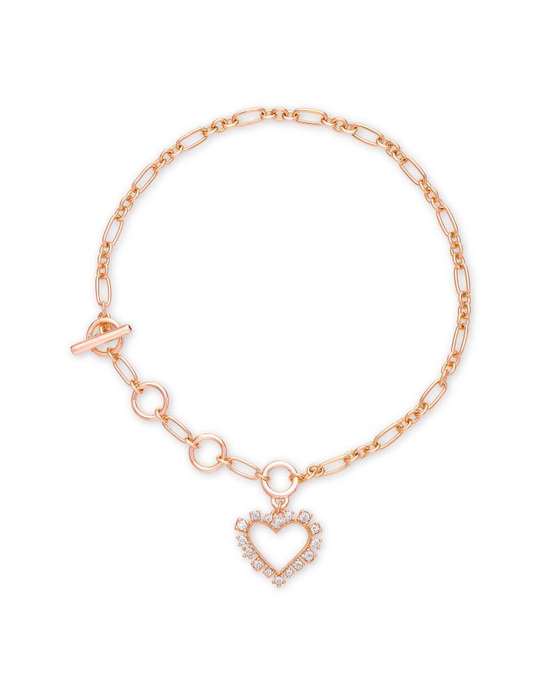 Ari Heart Rose Gold Delicate Bracelet in White Crystal