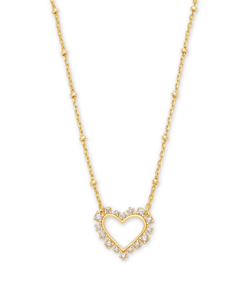 Ari Heart Gold Pendant Necklace in White Crystal