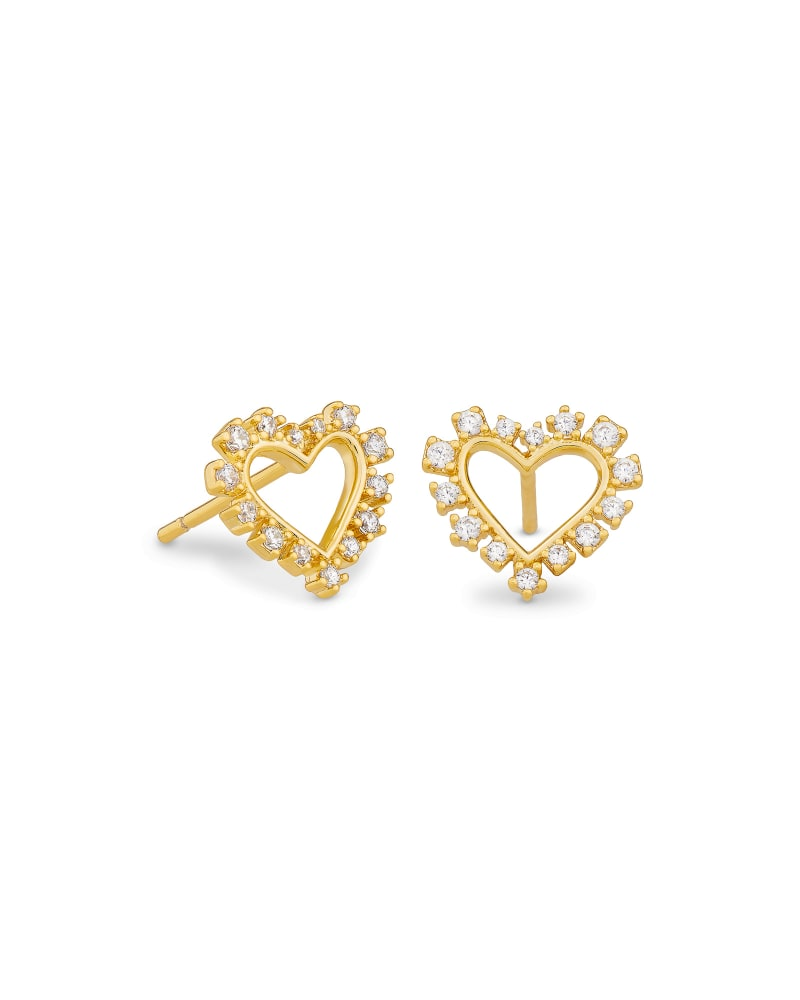 Ari Heart Gold Stud Earrings in White Crystal