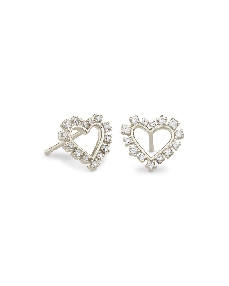 Ari Heart Silver Stud Earrings in White Crystal