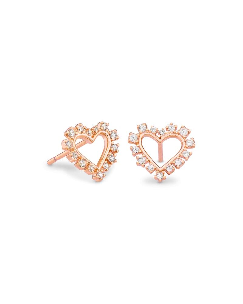 Ari Heart Rose Gold Stud Earrings in White Crystal