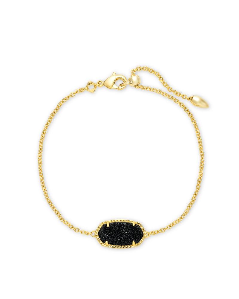 Elaina Gold Single Slide Bracelet in Black Drusy