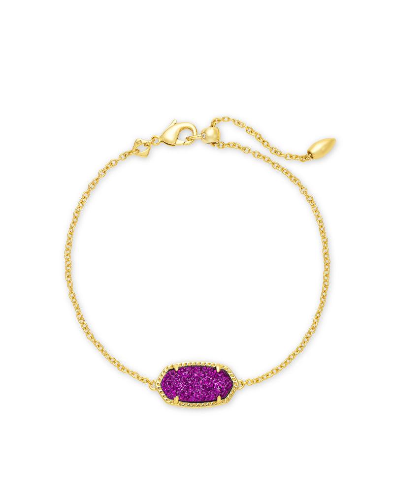 Elaina Gold Single Slide Bracelet in Bright Plum Drusy