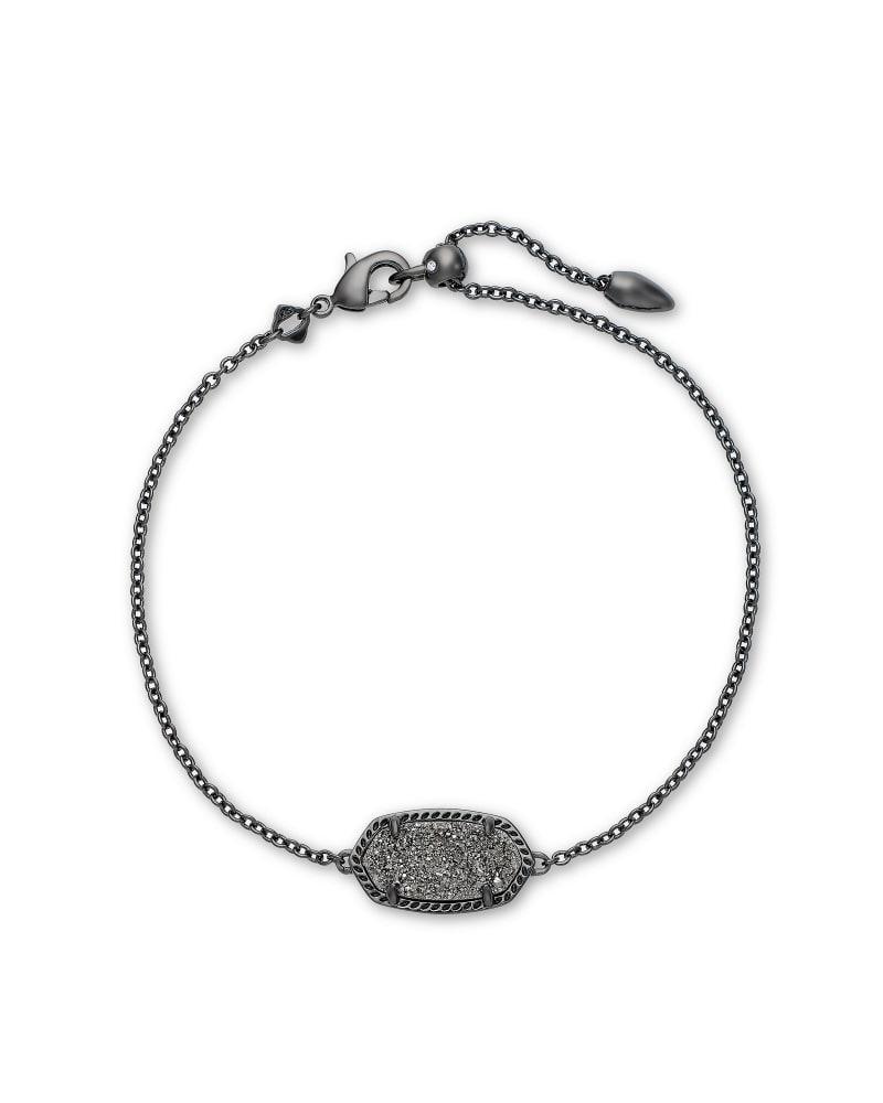 Elaina Gunmetal Single Slide Bracelet in Platinum Drusy