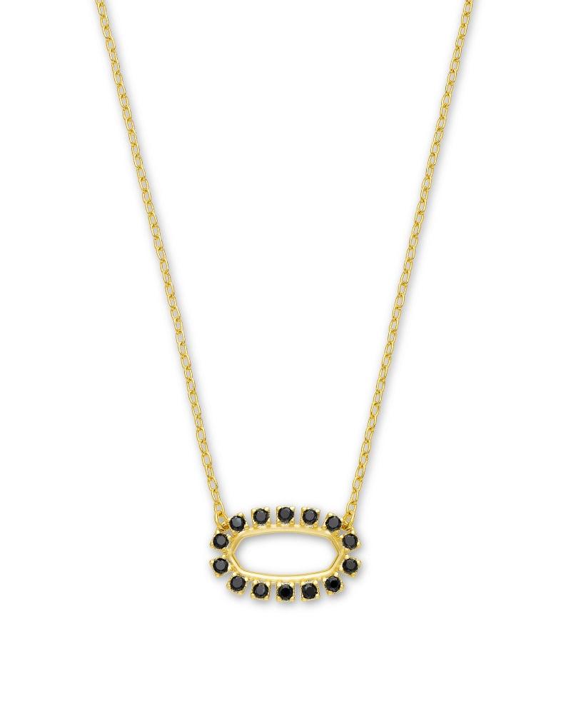 Elisa Gold Open Frame Pendant Necklace in Black Spinel