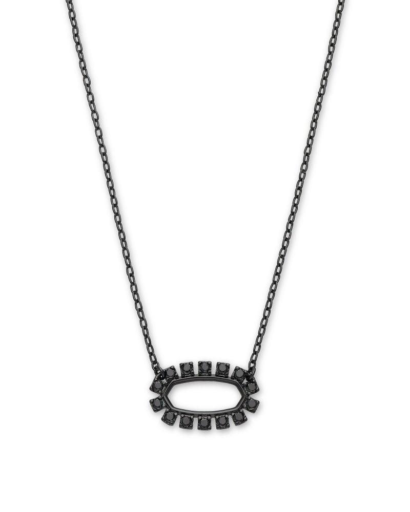 Elisa Gunmetal Open Frame Pendant Necklace in Black Spinel