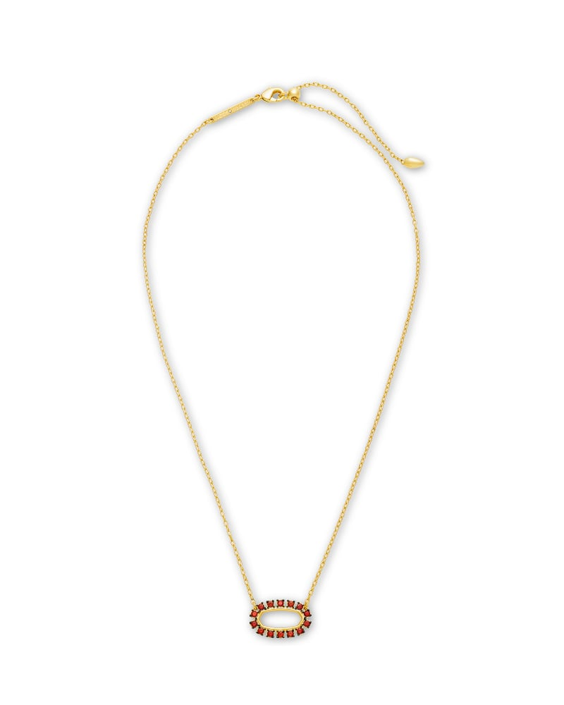 Elisa Gold Open Frame Pendant Necklace in Burgundy Crystal