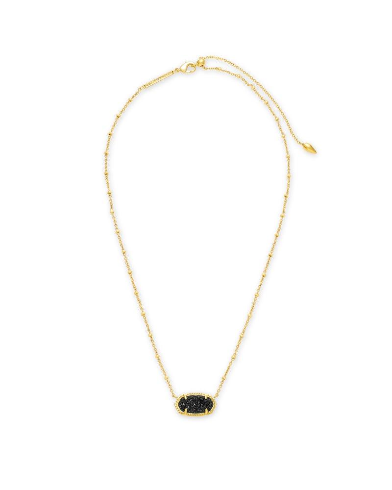 Elisa Gold Satellite Pendant Necklace in Black Drusy