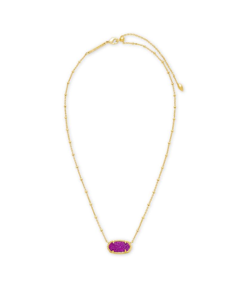 Elisa Gold Satellite Pendant Necklace in Bright Plum Drusy