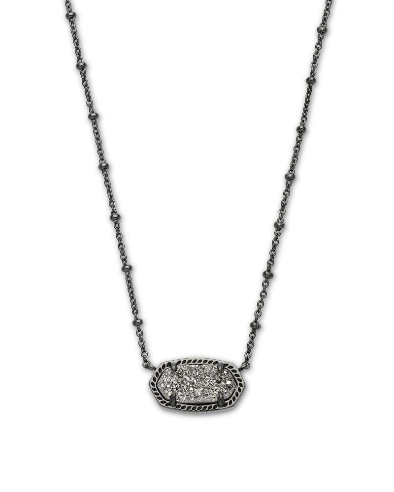 Elisa Gunmetal Satellite Pendant Necklace in Platinum Drusy