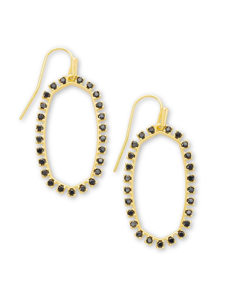 Elle Gold Open Frame Earrings in Black Spinel