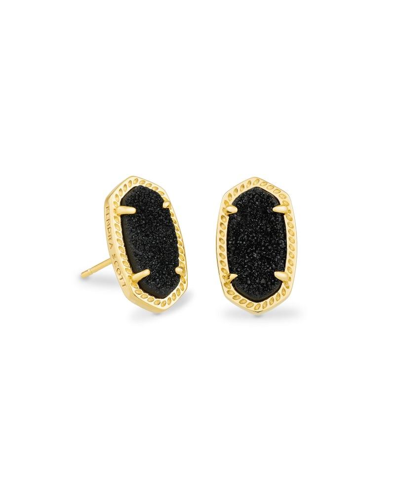 Ellie Gold Stud Earrings in Black Drusy