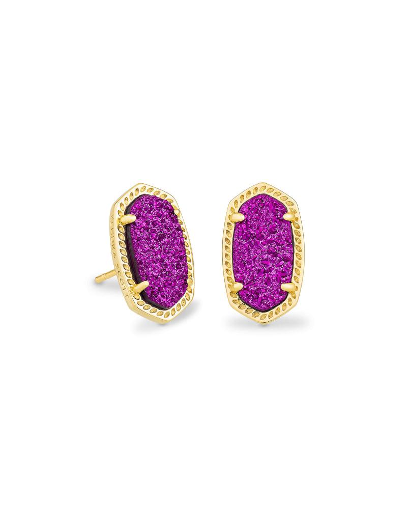Ellie Gold Stud Earrings in Bright Plum Drusy