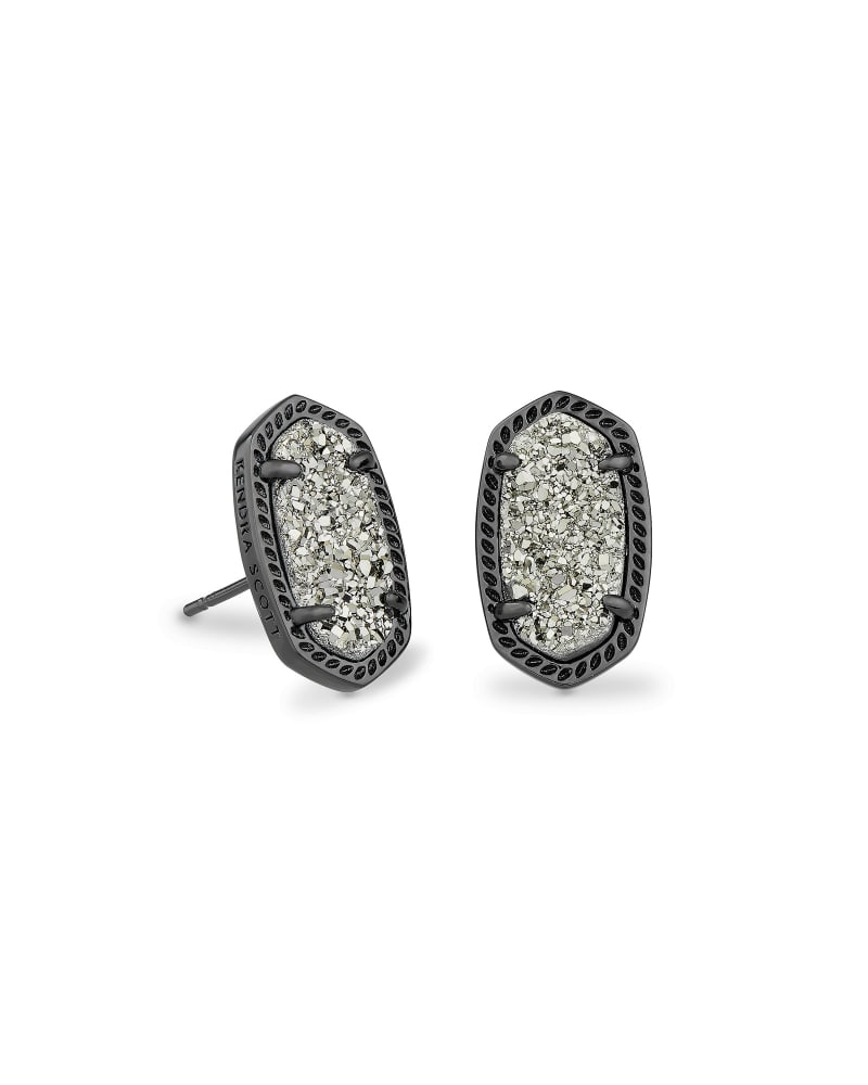 Ellie Gunmetal Stud Earrings in Platinum Drusy